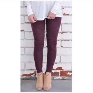 Pants - 💜 Burgundy Pant-Leggings with Ankle Zipper